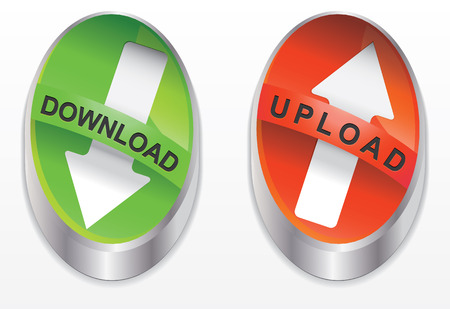 download and upload button green and red color