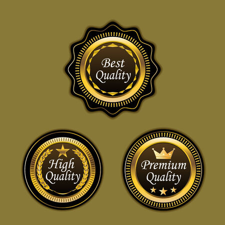 three quality badge, best, premium and high quality