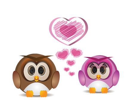 cute round owl in love Illustration