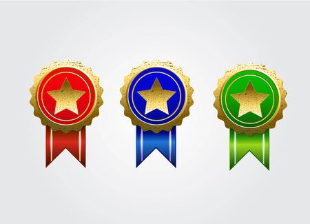 Three badge with star and three colors Illustration