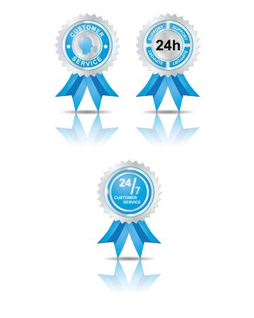 Set of customer badge in blue color