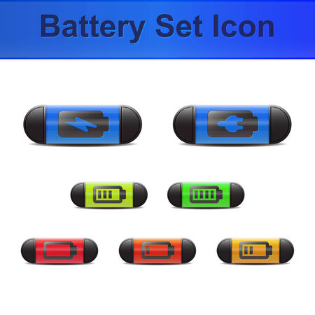 Set of battery icons with capluse design