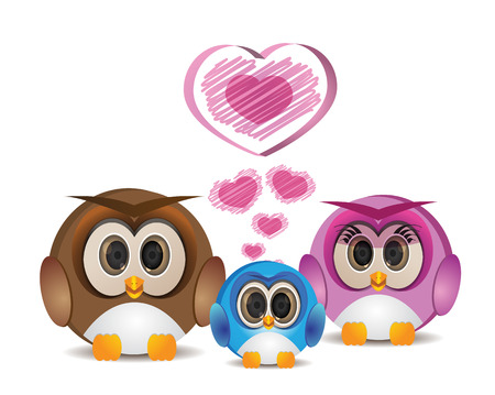 happy owl family father mother and son Illustration