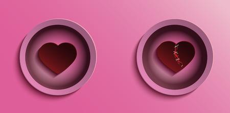 Red hearth with pink background