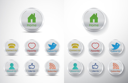 social media icons shiny design metal appearance Vector