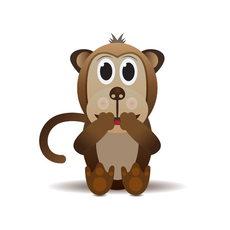 One laughing monkey with tail Vector