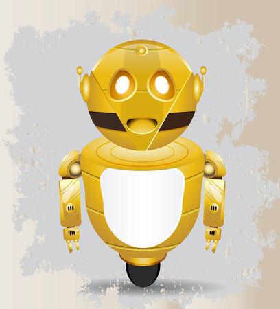 suprise: golden robot with vintage background