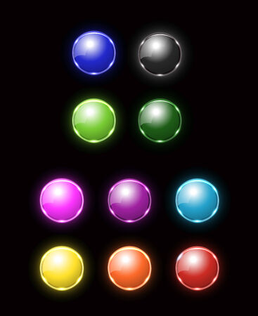 colorfull blank neon button Vector
