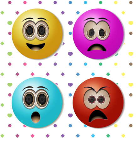 suprise: emoticons with candy color and background