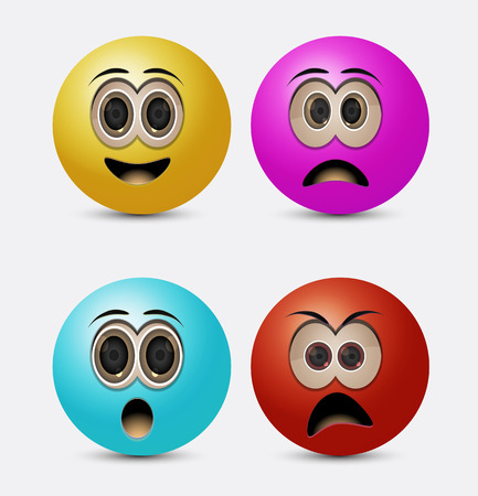 round emoticons with candy color
