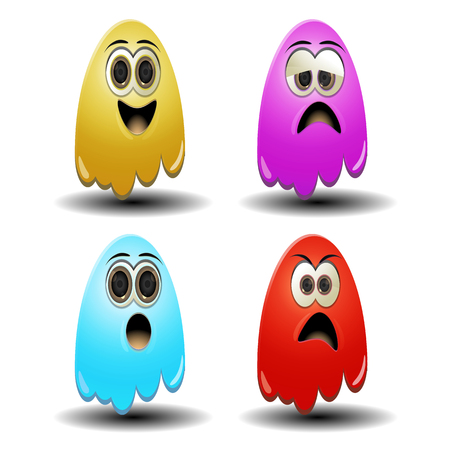 ghost emoticons funny and cute for new smily design