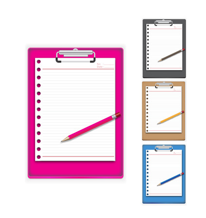 Clip board paper and pencil with three color vailable