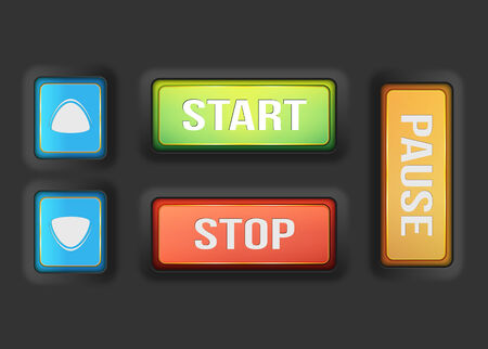 start stop pause buttons and prev next buttons with dark background Illustration