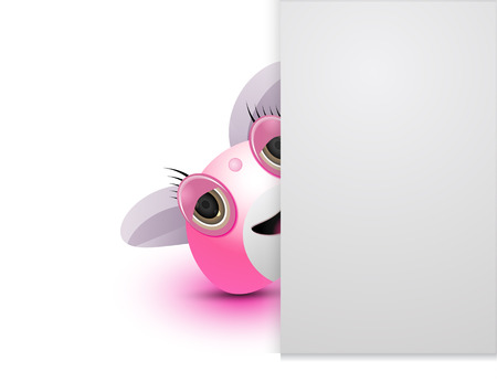cute female pink monster is hiding Vector