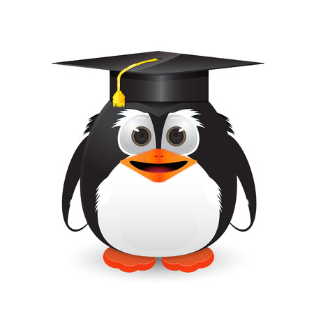 Penguin with graduation cap Vector