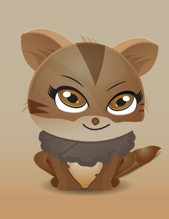 wiskers: brown cute kitten sitting and smile Illustration