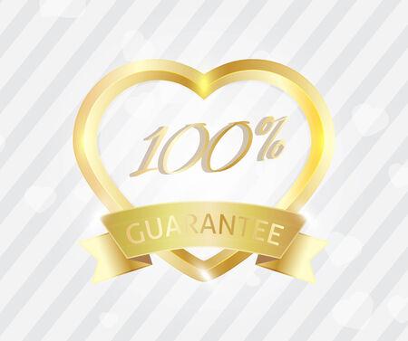 Love badge sign 100 service guarantee Vector