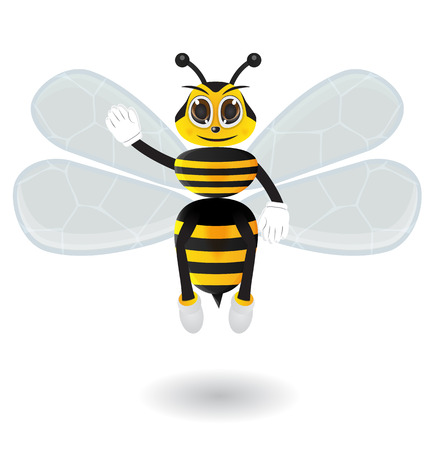 Honey bee say hallo with hand and foot