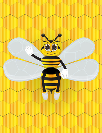 bee cartton with honeycomb background Illustration