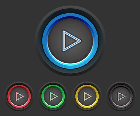 Beautiful video buttons in five colors