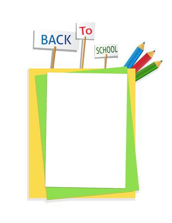 fournitures scolaires: revenir au papier de l'�cole avec crayon de couleur