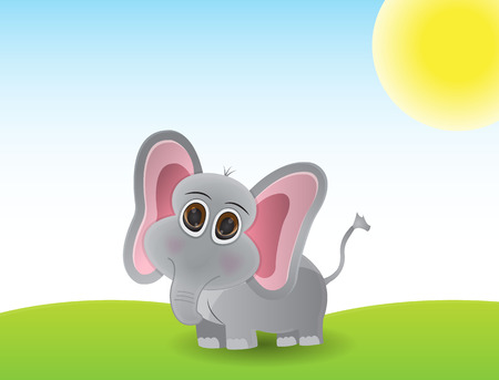 Cute little elephant cartoon stand alone in the meadow