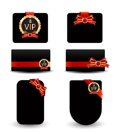 Black card red ribbon for vip sign Vector