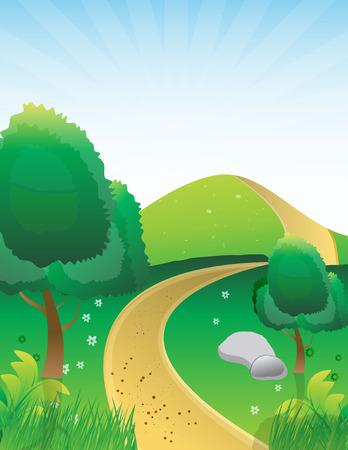 Bella illustrazione paesaggio con strada sterrata