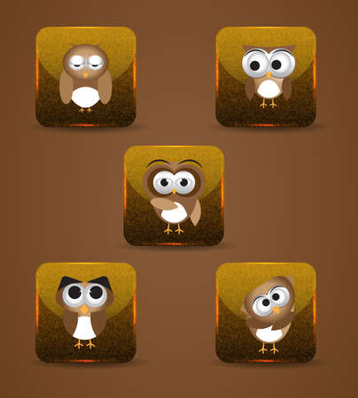 Owl expression in buttons shape Vector