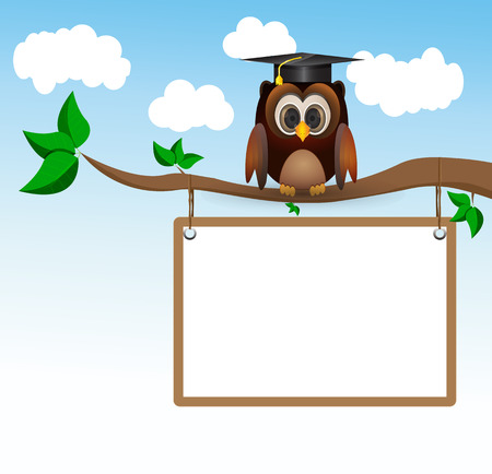Brown owl sitting on three with graduation cap and whiteboard Illustration