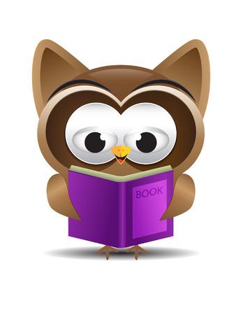 Owl cartoon reading purple book Vector