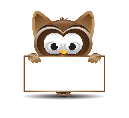 Cute brown owl holding a text board Vector