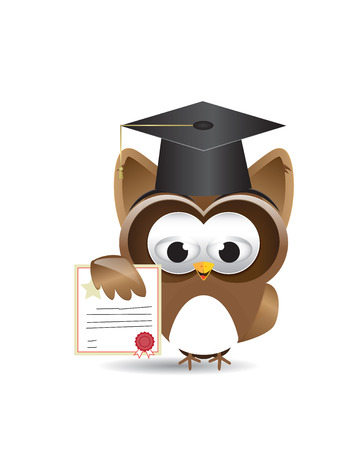lecture hall: Cute brown owl showing diploma certificate
