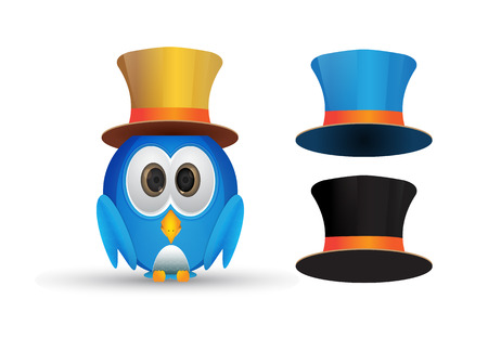 Blue cute bird with hat set