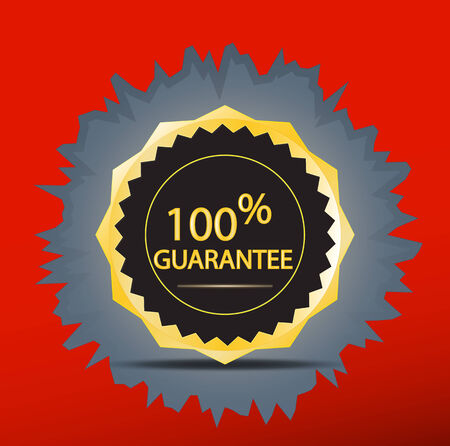Golden guarantee badge inside red wall Illustration