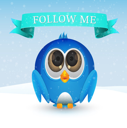 succeeding: Blue bird on snow with follow me ribbon