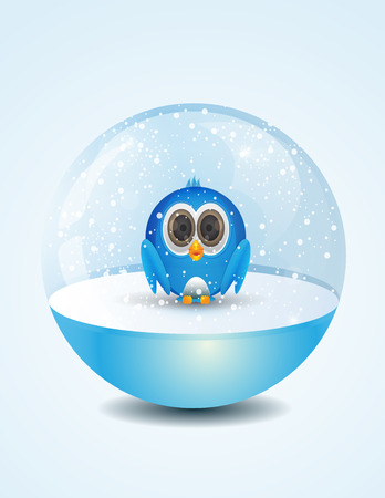 Cute little blue bird inside snow dome Vector