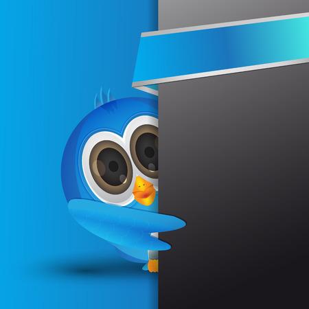 social gathering: Blue  bird hiding with text box