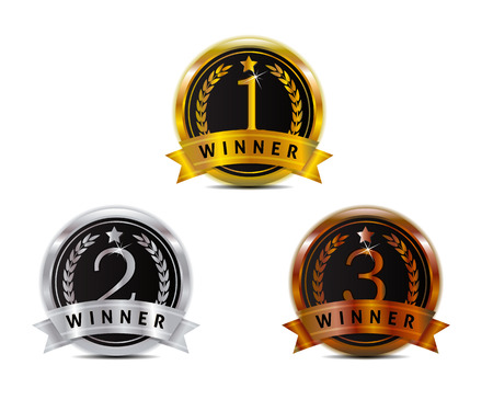 first place: 1 2 3 badge for winner with gold silver and bronze color
