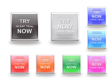 free trial: Set of colorfull free trial icons
