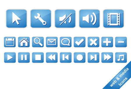 bright colour: Icons for media web with blue bright colour