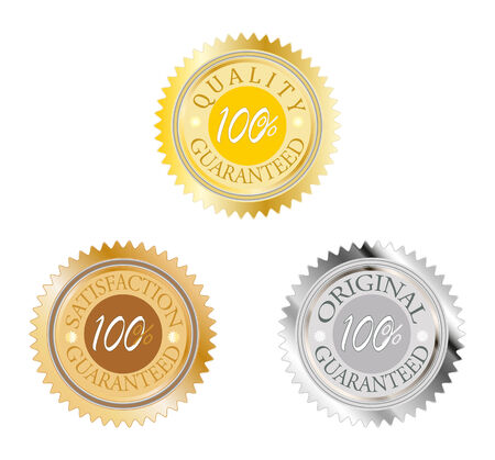 guarantee set badge with gold silver and bronze Vector