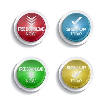 shiny buttons: shiny colorful download and signup buttons Illustration