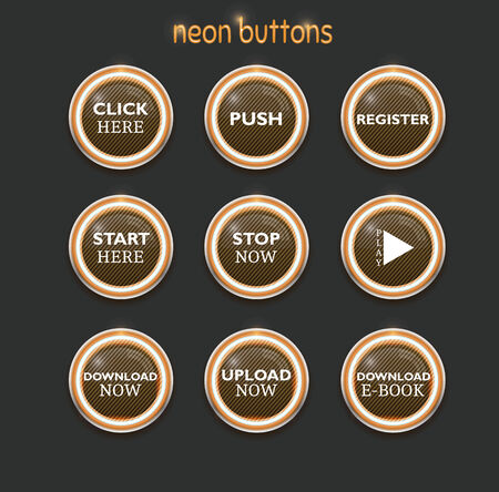 Orange buttons set, download, register and many more Vector
