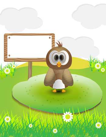 Cute bird in nature with text sign Illustration