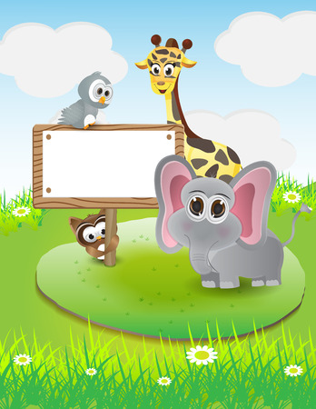 animal cartoon with blank text box and nature background Illustration