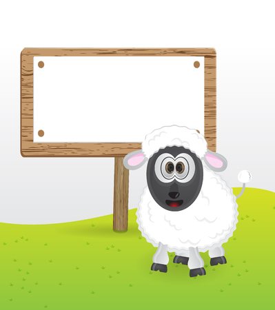 messege: cute sheep with blank text messege