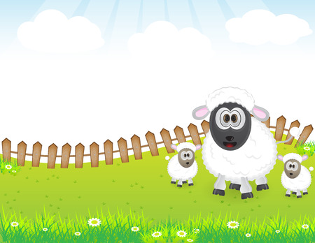 Sheep family illustration in nature