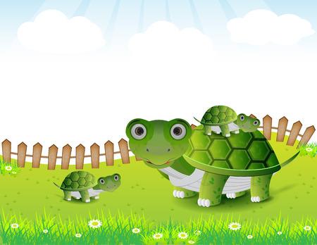 green turtle: Carino illustrazione famiglia tartaruga
