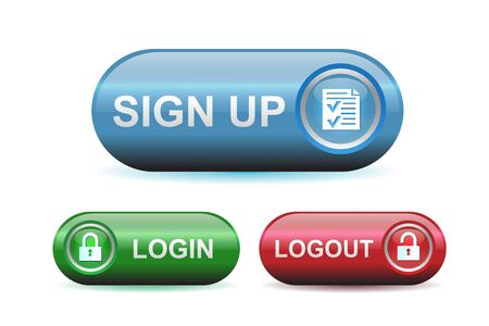 signup: Login, logout and signup buttons with glossy effect